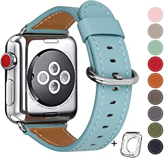 Compatible for apple Watch Band 38mm 40mm women Top Grain Leather Band Replacement Strap iWatch Series 5,Series 4,Series 3,Series 2,Series 1,Sport, Edition (Tiffany Blue band+Silver Buckle, 38mm40mm)