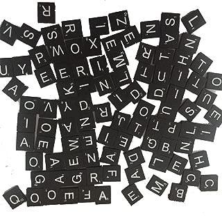 100 Wood Letter Scrabble Tiles - Black Color - 1 Complete Sets - Game Replacement Crafts Weddings Scrapbooking