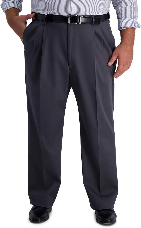 Haggar Men's B&T Iron Free Premium Khaki Classic Fit Pleat Front Expandable Waist Pant