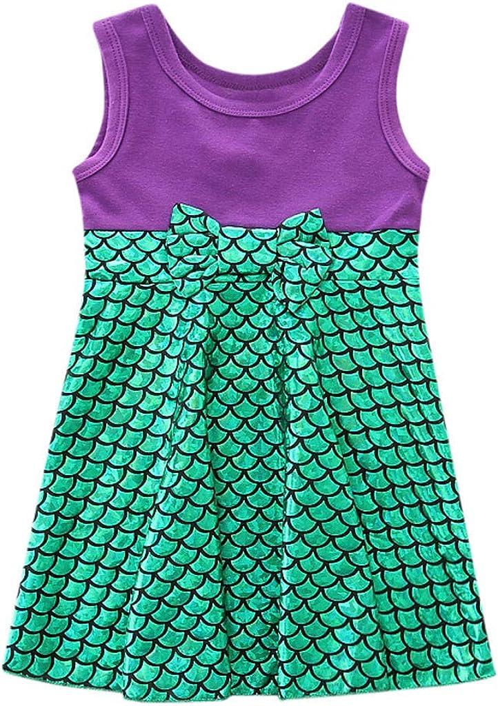 Lurryly Little Kids Baby Girls Bowknot Summer Dress Sleeveless Princess Casual Sundress