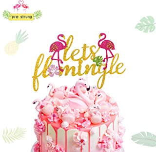 Let's Flamingle Cake Topper Aloha Hawaiian Tropical Themed Summer Party Decorations (Double-sided)