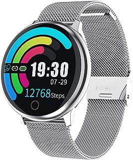Winnes Reloj Mujer, Monitor de Actividad Pulsómetro y Podómetro IP67 Impermeable Smartwatch, con Bluetooth Contador de Pasos y Monitor de Sueño para Smartphones Android/iOS (Tira de Acero Plateado)