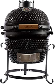 Viemoi Kamado Grill Mini Kamado Charcoal Grill Barbecue Cooking System Black with Stainless Steel Grid