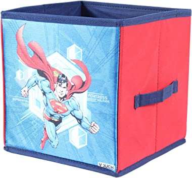 PrettyKrafts Superman Toys Organizer (Set of 4 Pieces - Big & Small), Storage Box for Kids