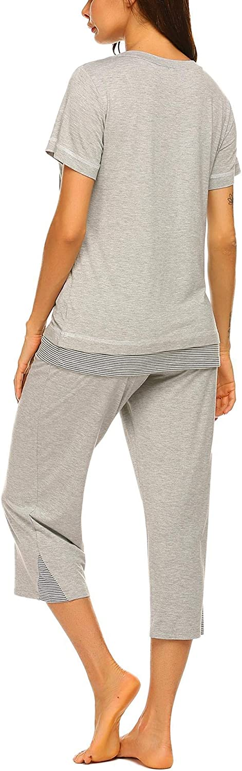 Ekouaer Womens Pajamas Set Soft V Neck Striped Sleepwear Top and Capri Pj Lounge Sets