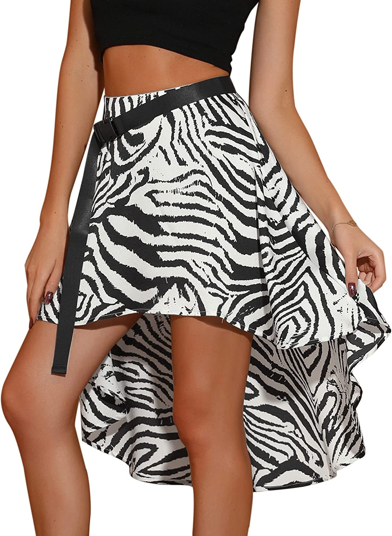 Allegra K Women's Zebra Y2K Silky High Low Asymmetrical Belt Flare Summer Mini Skirt