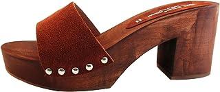 Zoccolo Donna - in Vero Legno -Vera Pelle Camoscio -SilferShoes - Made in Italy - Colore Marrone - Colore Ruggine-