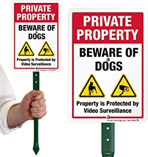 "SmartSign Private Property Beware of Dogs Sign with Stake 21"" Tall - Property Protected by Video Surveillance Sign for Yard/Lawn 
