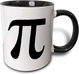 3dRose 164891_4 Pi Symbol Math Sign Black and White Mathematics Number Two Tone Mug, 11 oz, Multicolor