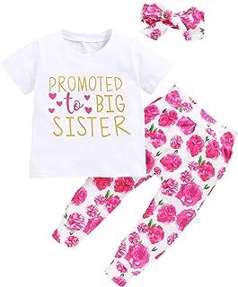Toddler Girls Sister Floral Pants Set Baby Promoted to Big Sister Short Sleeve Shirt+Floral Pants+Headband 3Pcs Outfits