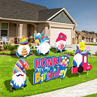 Birthday Decorations Yard Signs with Stakes, Happy Birthday Cake Balloons Gnomes Lawn Ornaments Garden Outdoor Sign, Water...