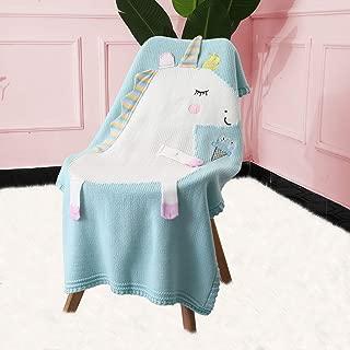 Merrycolor Baby Cotton Blanket Unicorn Knitted Blanket Soft Warm Crochet Quilt Blanket Toddler Crib Blankets for Girls Boy(Light Blue)