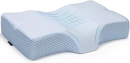 وسادة Adkwse من إسفنج الذاكرة، وسائد نوم منحنية للعظام، وسادة أسطوانية لألم الرقبة - وسادة سرير لدعم الرقبة للجانب والظهر ...