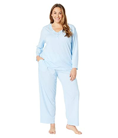 Karen Neuburger Plus Size Last Waltz Long Sleeve Pullover PJ (Dot/Light Blue) Women