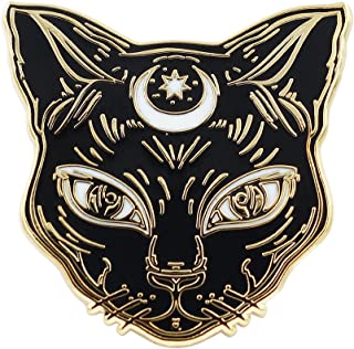 Real Sic Black Cat Enamel Pin - Witch's Cat Lapel Pin - Premium Halloween/Occult/Witch/Tarot/Alchemy Cat Accessory for Jackets, Backpacks, Hats & Tops