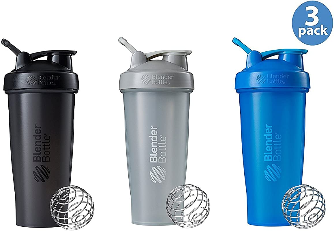 BlenderBottle Classic Loop Top Shaker Bottle 3 Pack 28 Ounce Colors May Vary