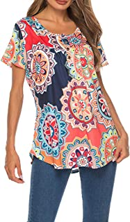 OrchidAmor Women's Fashion Short Sleeve with Buttons Summer Print T-Shirts Tops
