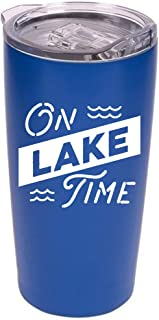 "Lake Tumbler - 20 oz Stainless Steel Insulated Tumbler with Clear Lid -""On Lake Time"" (Blue/White)"