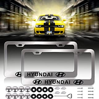 Newest Hyundai Logo Bling Frosted Silver Aluminum Alloy License Plate Frame,with Screw Caps Cover Set Suit,Applicable to US Standard car License Frame, for Hyundai(2 Pcs)