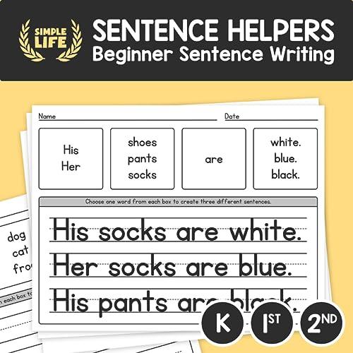 Beginner Sentence Writing Worksheets – Kinder, 1st, & 2nd Grade ELA  Vocabulary Practice