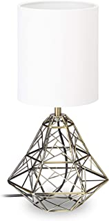 Relaxdays Lámpara de Mesa Geométrica, Metal, Blanco y Dorado, 38 x 20 x 20 cm