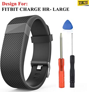 TASLAR Silicone Replacement Adjustable Band Strap for Fitbit Charge Heart Rate - Large (Black)