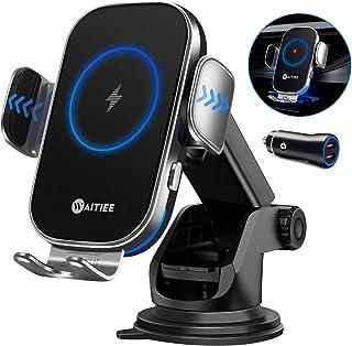 شارژر بی سیم اتومبیل WAITIEE ، شارژرهای اتومبیل تلفن همراه شارژ سریع Qi ، براکت ماشین بستن اتوماتیک برای آیفون 11/11 Pro Max / XS / XR / X / 8 plus / 8 / ، سامسونگ S10 / S10 / S9 / S9 / S8 / S8 (با آداپتور QC3.0)