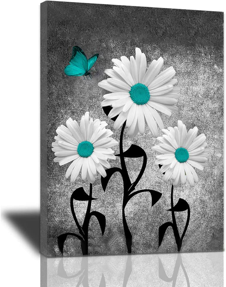 Abstract Bathroom Decor Canvas Wall Teal Financial sales sale Art Butterflies Daisy Easy-to-use