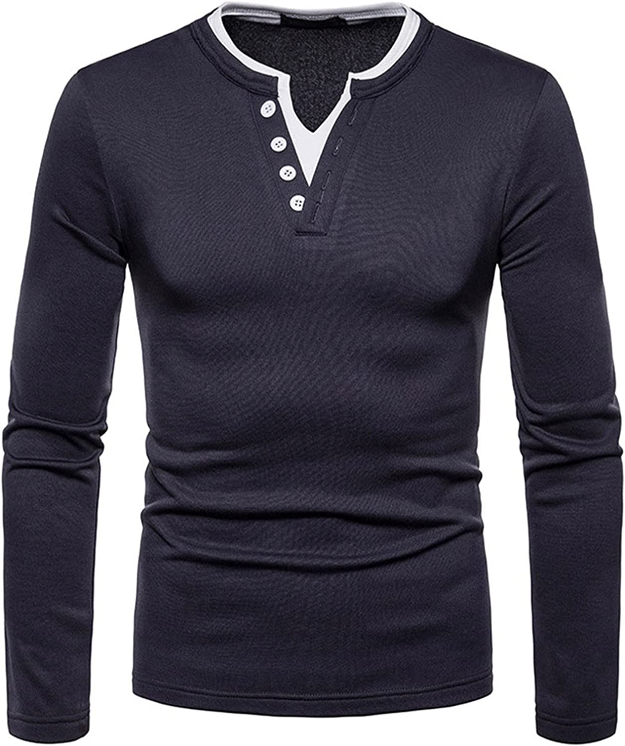 Maryia Mens Casual Henley Fashion T-Shirts Slim Fit Long Sleeve V Neck White Strim Button Down Models Basic Blouse