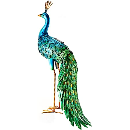 Outdoor Solar Peacock Statue Garden Decor Metal Yard Art for Lawn Backyard Party Wedding Decoration