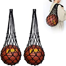 Hatisan 2Pcs Sports Ball Holder with Long Bold Handle, Upgraded Heavy Duty Mesh Ball Shoulder Bag Ball Carrier Net Bag for...