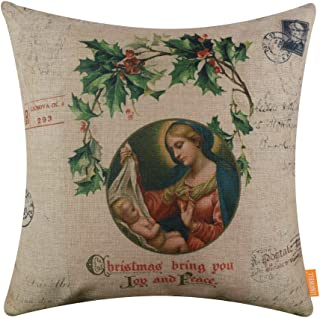 LINKWELL 18x18 inches Merry Christmas Joy and Peace Burlap Throw Cushion Cover Pillow Cover CC1384