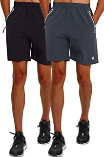 BGOWATU Men's 7 Inches Running Athletic Shorts Quick Dry Workout Gym Shorts