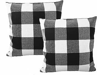 Ukeler 2-Pack Retro Farmhouse Tartan Checkered Throw Pillow Covers Buffalo Check Plaid Cotton Linen Decorative Cushion Cover Throw Pillowcase for Sofa/Car/Bed/Chair, 17.7''x17.7'', Black/White
