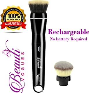 Smart Electric USB Rechargeable Automatic Airtouch Rotating Makeup Brush. Detachable Head Holder for Foundation & Powder Brushes. Auto Electrical 360 Rotatory Rotation Set. Contouring Airbrush Finish