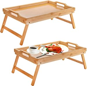 Lawei 2 Pack Bamboo Foldable Breakfast Table - Bed Tray Table with Legs, Bamboo Serving Trays with Handles, Laptop Bed Tray for Eating, Reading, Working