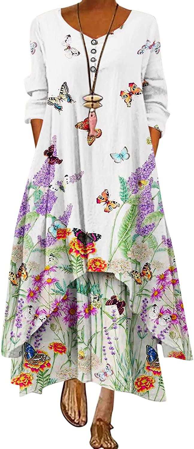 ONHUON Long Sleeve Dress for Women,Women Casual Floral Printed Loose Long Maxi Dress Winter Loose Cami Dresses with Pockets