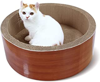 ScratchMe Cat Scratching Post Lounge Bed, Round Shape Cat Scratcher Cardboard Board Pads with Catnip, Durable Recycle Pad ...