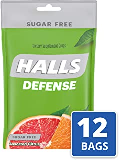 Halls Defense Citrus Sugar Free Vitamin C Drops - 300 Drops (12 bags of 25 drops)