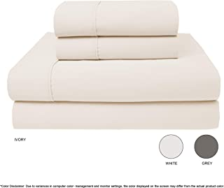 Neo Fresh 800 TC 100% Cotton Sheet-Fresh - Ivory Full Sheets Set 4 - Piece Bedding Sheets Infinity Sateen Weave for Luxurious Sheen and Softness Patented - Fitted Sheet Fits Upto 18