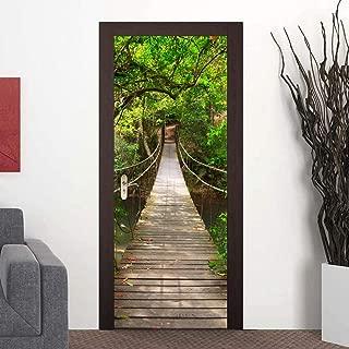 3D Door Mural Wallpaper Stickers Self-Adhesive Wall Mural Door Stickers Decor Removable Wallpaper Vinyl Wall Stickers Door Decal for Home Room Decoration(Forest Bridge)