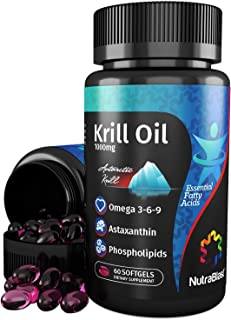 NutraBlast Krill Oil 1000mg Essential Fatty Acids Omega 3-6-9, Astaxanthin and Phospholipids - Made in USA (60 Softgels)