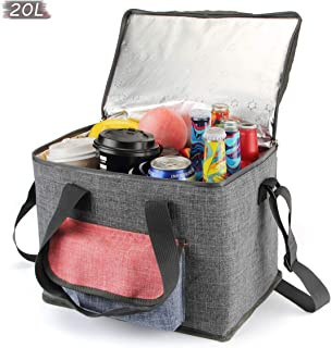 AnSun Insulated Cooler Lunch Bags Soft Foldable Thermal /Cool Bag, for Office Work School Picnic Camping Beach BBQ Shopping, Large 20L -Grey