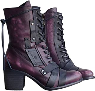 Raburt Dames Retro Comfy Chunky Hiel Lace Up Boots