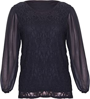 cbbe39a836b Womens Chiffon Sheer Lace Mesh Full Sleeve Ladies Round Neck Stretch Lined Floral  Blouse Top Plus