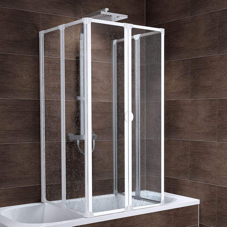 Schulte Duschabtrennung München inkl. Klebe-Montage, 140 cm hoch, 2x3-teilig faltbar, Kunstglas Tropfen-Dekor, alpin-wei, geschlossene Duschkabine für Badewanne