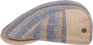 Lierys Coppola in Lino e Cotone Stripes Uomo - Made Italy Cappello Piatto Berretto Cotton cap con Visiera, Fodera, Fodera ...