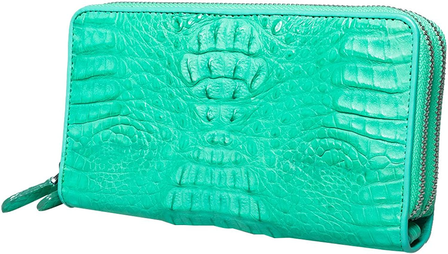 Genuine Crocodile Caiman Leather 2 Inner Zipped Around Coin Wallet Clutch Purse