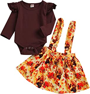Baby Girls Thanksgiving Outfit Ruffles Long Sleeve Romper + Turkey Suspenders Skirt Set