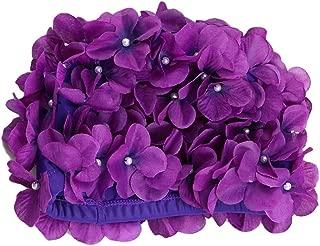 Fashionable Swim Cap Floral Petal Stylish Swimming Hat Bathing Caps Size L for Women (Purple)